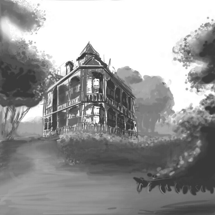 Victorian house quick sketch. Photo reference study. Composition, architecture, history, location.  #conceptart #Victorian #path #grayscale #digital #sketch #Photoshop #Wacom #Intuos #iwbaca #iwannabeaconceptartist