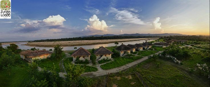 Aerial view of the cottages at Barahi Jungle Lodge, Nepal.