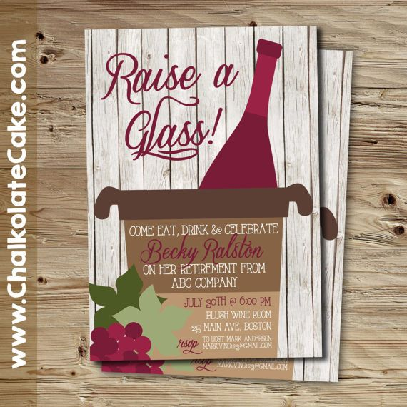 Retirement Dinner Party Ideas Part - 16: RAISE A GLASS Retirement Invitation, Wine Tasting, Retirement Dinner Party  Invitaton, Printable