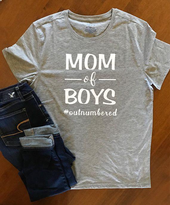 Mom of Boys Outnumbered Mom shirt Raglan Tee