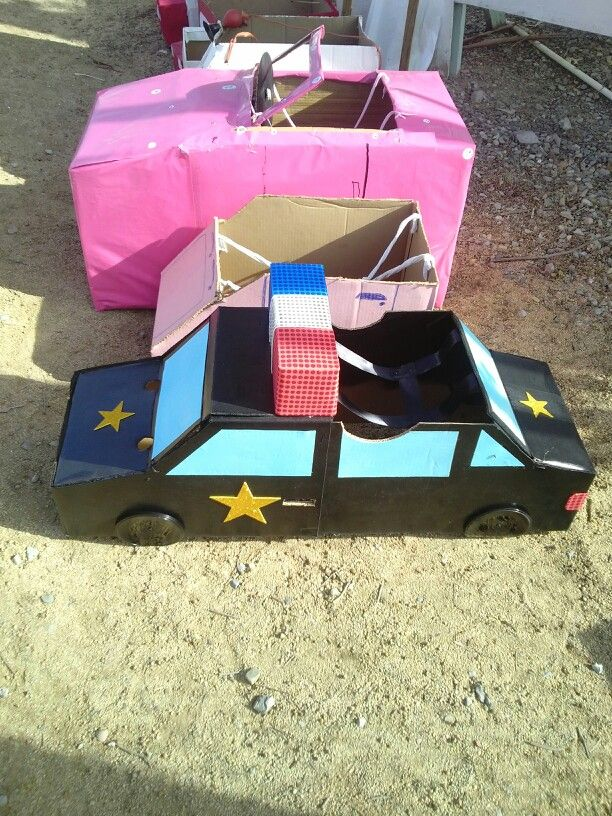 Caja de carton carro con caja de carton manualidades for Cajas de carton infantiles