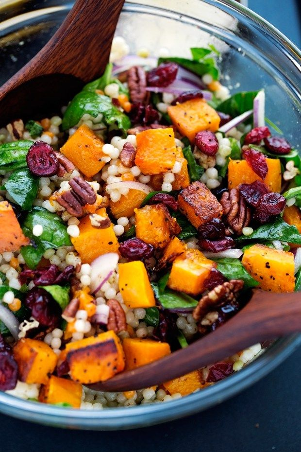 Autumn Pearl Couscous Salad with Roasted Butternut Squash - tossed in a light dijon vinaigrette. This salad is hearty and filling! #roastedbutternutsquash #autumnsalad #harvestsalad | Littlespicejar.com