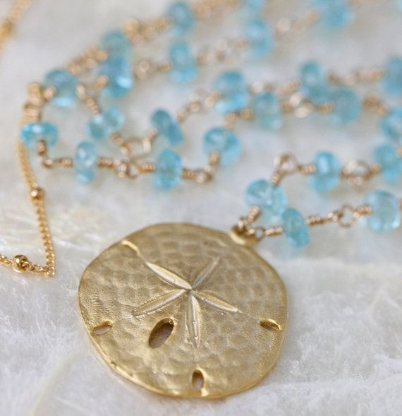 Sand Dollar Necklace  Long Gold Necklace  by LHJewelryBoutique, $158.00
