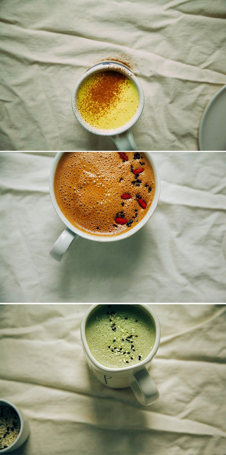 superfood lattes (turmeric vanilla spice, raw chocolate + goji, matcha + maca w/ tahini // via @thefirstmess