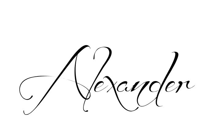 Tattoo Name Alexander using the font style Before the Rain Regular