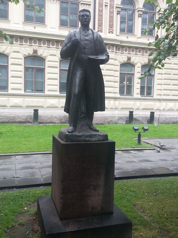 Albert Edelfeldt one of the most beloved Finnish painters. In front of the arts museum Ateneum.