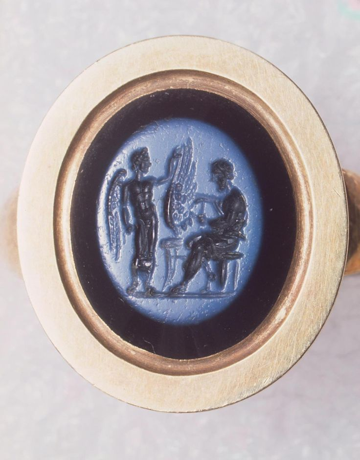 Roman Intaglio of Daedalus and Icarus, 1st Century ADA Roman 1st-century master created this gem showing the legendary master inventor Daedalus and his son Icarus. Escaping persecution by King Minos of Crete, Daedalus made wings of birds' feathers...