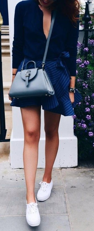 #summer #stripes #style  |  Navy + Stripes + Pop Of White