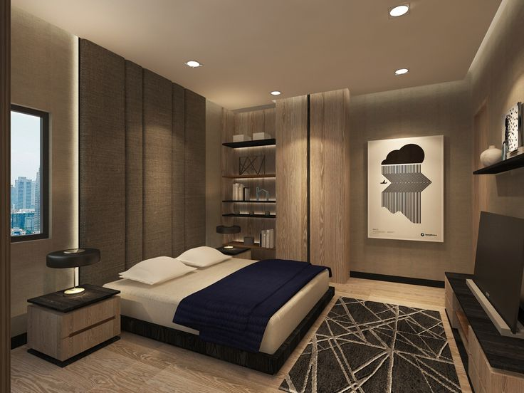 the master bedroom of an apartment in sudirman jakarta