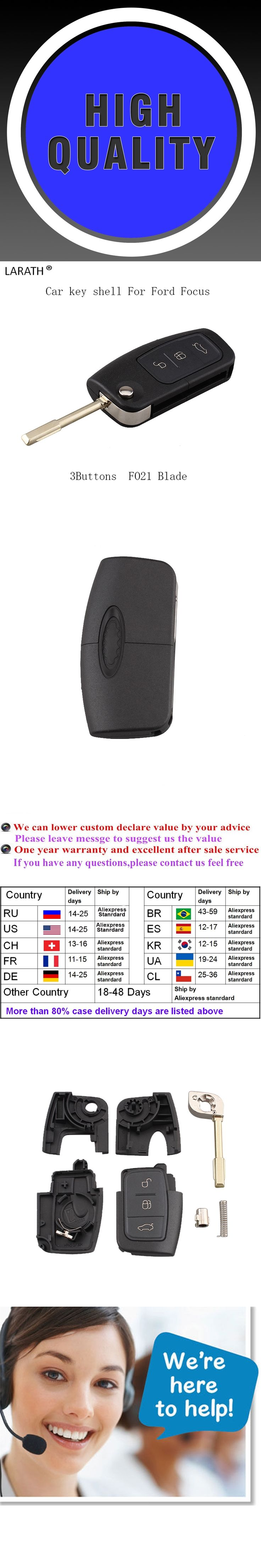 3 Buttons FO21 blade Replacement Flip Remote Key Shell For FORD Mondeo Focus Fiesta Key Case
