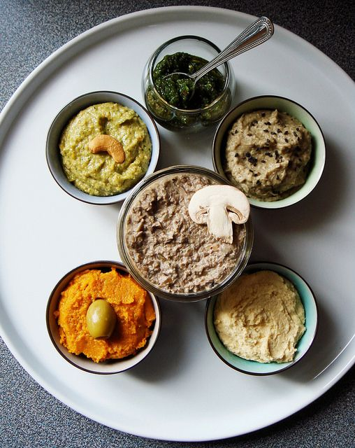 Moroccan-Style Spicy Carrot Dip among an assortment of dips & sauces ...
