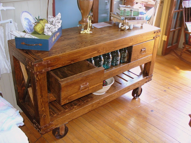 Custom 1880's Reproduction Industrial Cart: could be used as a dry sink, sofa table, kitchen island or entertainment center.