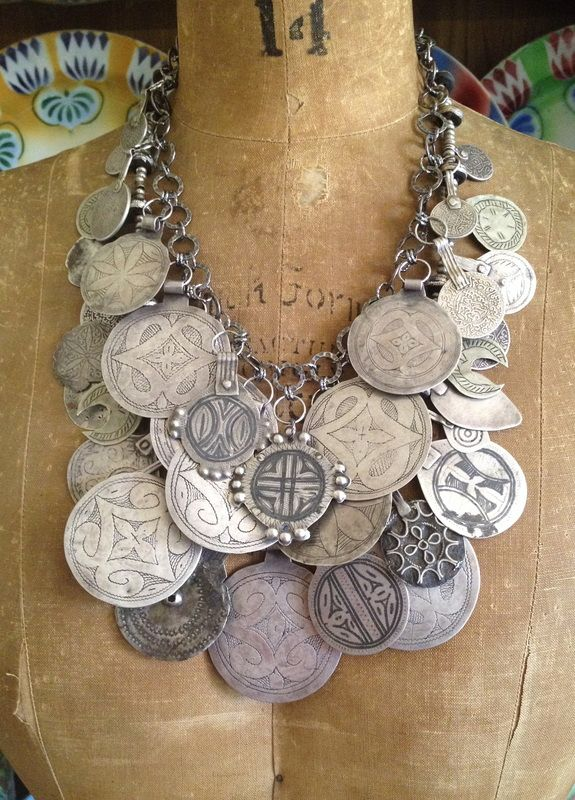 Victoria Z Rivers Jewelry+<br />Antique Moroccan Amulets+<br />+Coral+Old Silver+Coins+<br />+Trade Beads