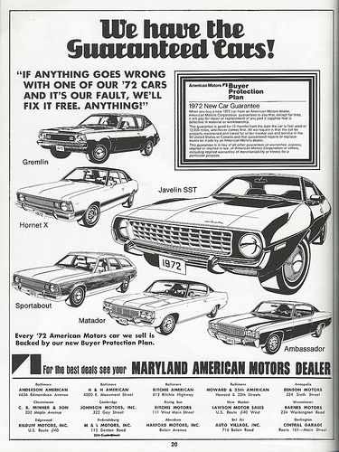 Vintage Automobile Advertising: 1972 AMC - American Motors Company Automobiles from the 1971 Baltimore World Series Booklet.