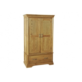 Solid Oak - FRW2 Lyon Oak Gents 1 Drawer Wardrobe  www.easyfurn.co.uk