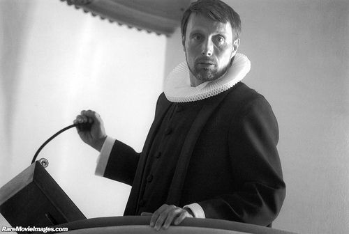 Mads Mikkelsen in Anders Thomas Jensen's Adam's Apples. He's wearing a ruff and cassock for priests of the Evangelical Lutheran Churches of Denmark
