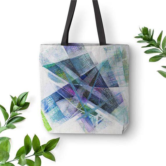 Blue Tote Abstract Art Bag Original Tote Bag White Tote