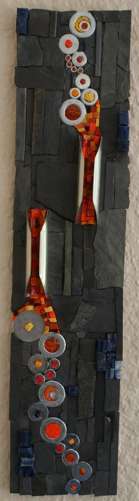 """Extrusion,"" a mosaic by Donja. Slate, washers, smalti on marine ply base."