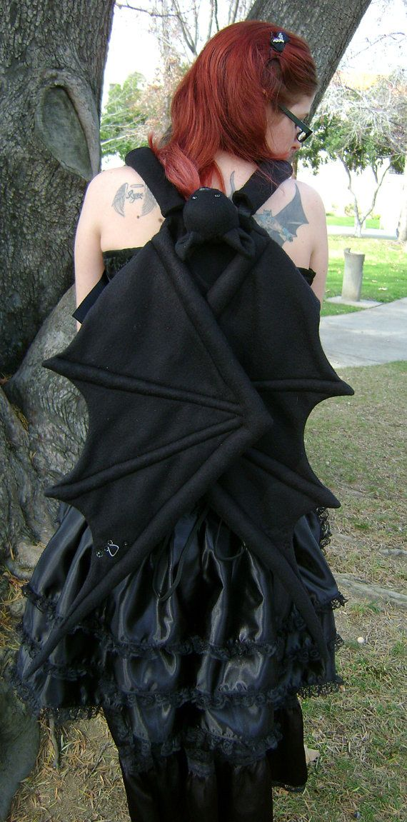 BatPack with Straps by Th1rte3nsCloset - backpack with bat wings OMG ..