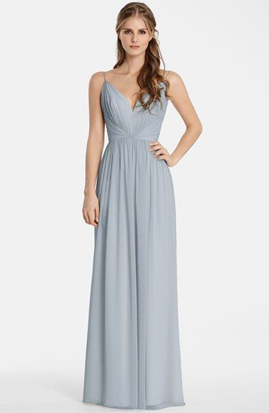 Free shipping and returns on Jim Hjelm Occasions Draped V-Neck Chiffon Gown at Nordstrom.com. Soft draping and gentle gathers shape the sweetheart bodice and floor-skimming skirt of a romantic chiffon gown suspended from slender straps to showcase gorgeous, glowing skin.