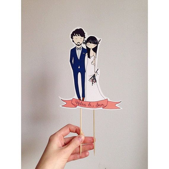 Custom made cake toppers custom portrait by Blankaillustration
