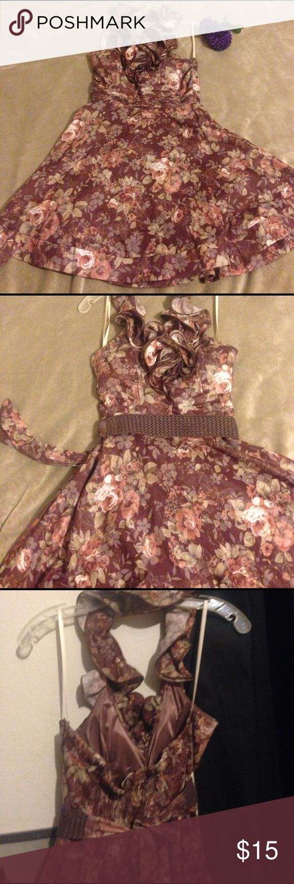Short Dress short floral brown dress with shiny golf details. Belt included! ...[perfect for country wedding with boots. Date night,  or a night out with your friends.] a'gaci Dresses Mini