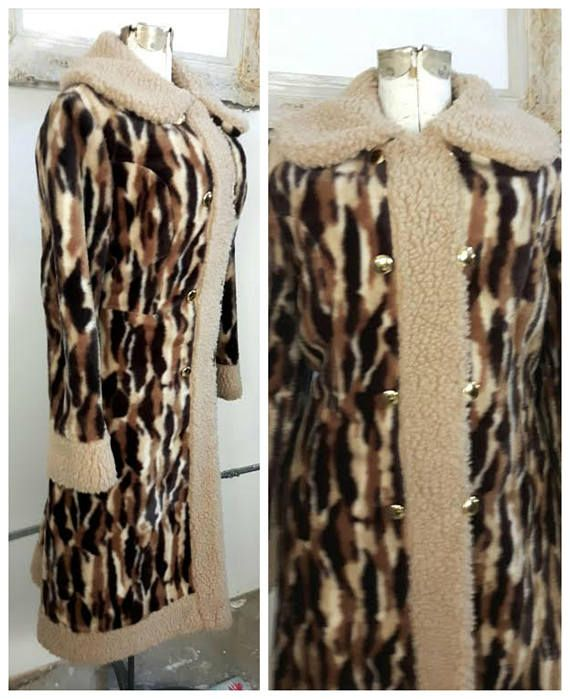 Vintage 60s Almost Famous Faux Leopard fur Coat Vegan Fur