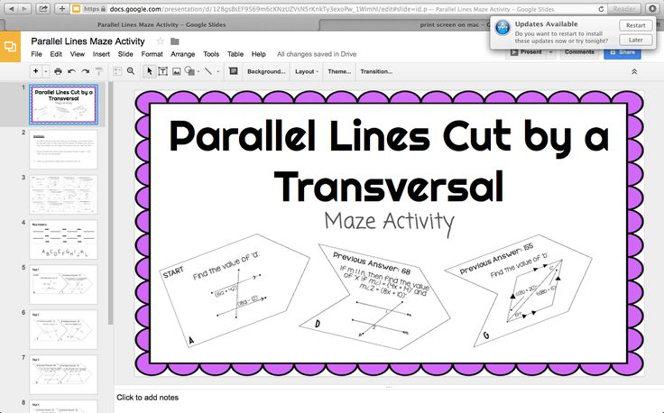 Mrs. Newell's Math: FREE Google Parallel Lines Cut by Transversal Digital Activity