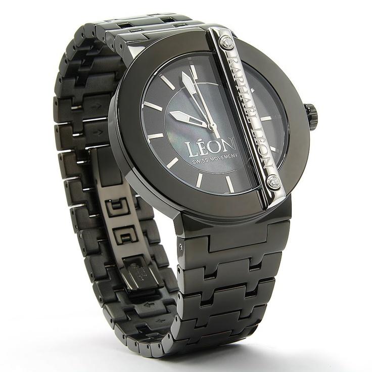 Raphael Leon Designer Watch - Mens Black ION PL. Case ...