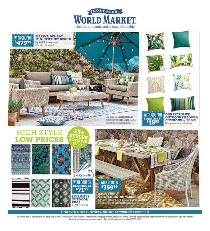 Cost Plus World Market Weekly Ad March 25 - April 17, 2017 - http://www.olcatalog.com/world-market/world-market-weekly-ad.html