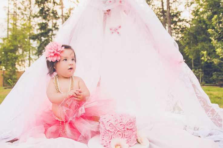 pink tutu - cake smash - pink and gold - pink and lace - lace tent - pink cake