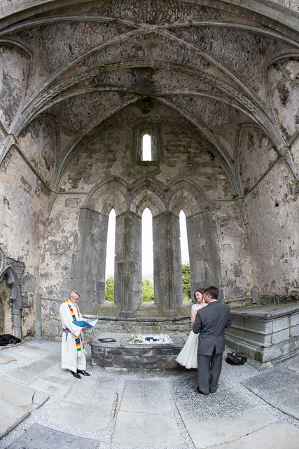 Irish Wedding Elope To Ireland Abbey Ruins Ceremony Corcomroe Packages