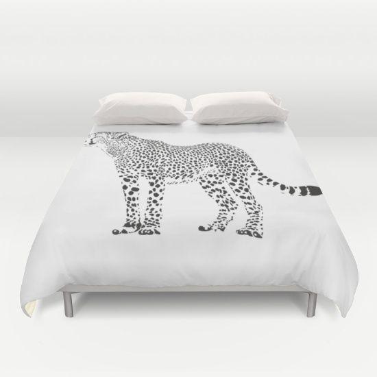 Cheetah - black and white Duvet Cover