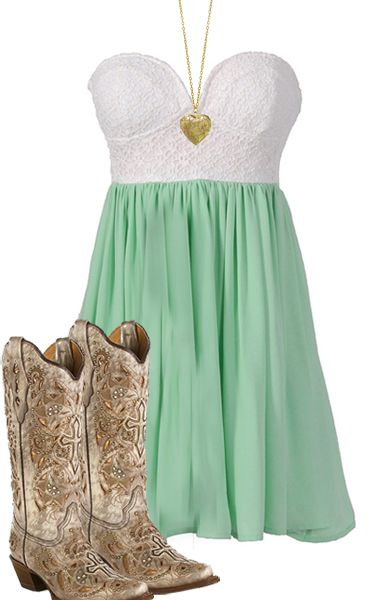 Country Girl - Dress, Boots, Heart Necklace
