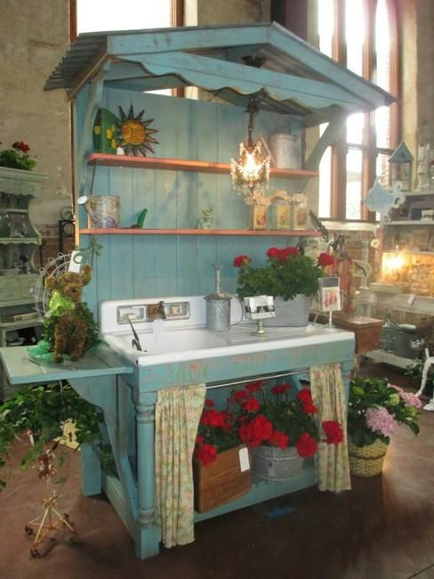wooden furniture for gardening, storage and organization, potting benches