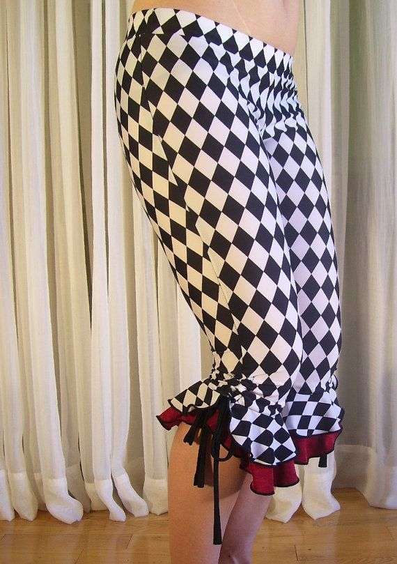 Capri bloomers ruffles pants - black and white jester - YOUR SIZE.  Etsy