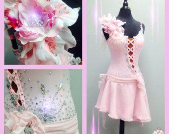 Kunstschaatsen jurken romantische stijl roze door DesignByNatasha