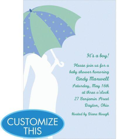 umbrella blue custom baby shower invitation party city baby shower