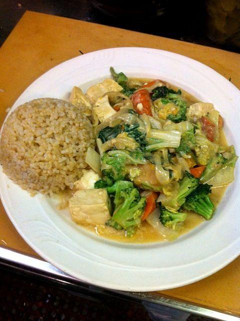 レシピとお料理がひらめくSnapDish - 6件のもぐもぐ - Squash Tofu/かぼちゃと豆腐のピーナッツソース炒め by m.