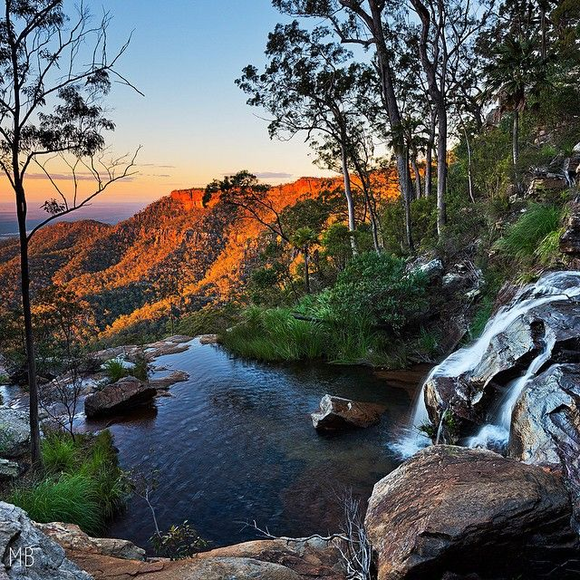 Sunset at 2 Mile Falls in the Blackdown Tablelands @mitchell_burns_imagery  #thisisqueensland