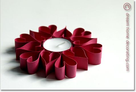 Valentine paper hearts around a tea light make great table decor