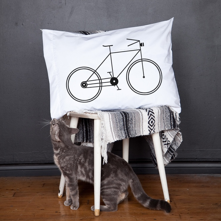 A Bicycle pillow case by Raymond Biesinger