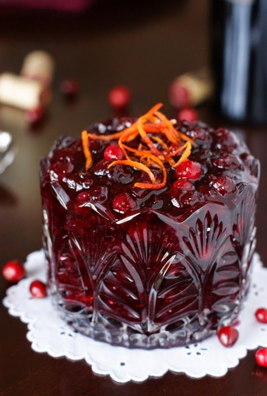 Cabernet Cranberry Sauce ~ cranberries simmered in Cabernet Sauvignon, accented with cinnamon and tangerine zest.   This will be your new favorite cranberry sauce!   www.thekitchenismyplayground