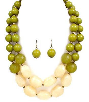 Green J Crew Anthropologie Inspired Statement Necklace & Earring Set. $19.00, via Etsy.