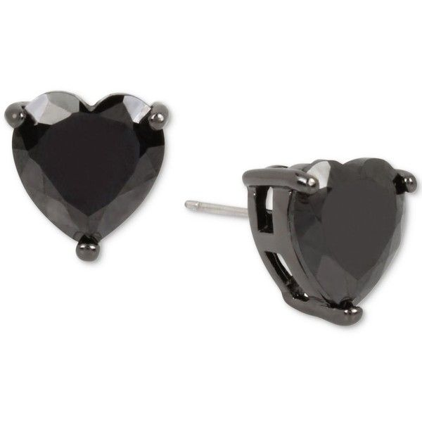 Betsey Johnson Colored Cubic Zirconia Heart Stud Earrings ($28) ❤ liked on Polyvore featuring jewelry, earrings, black, heart jewellery, betsey johnson jewellery, cubic zirconia heart earrings, cz earrings and betsey johnson jewelry