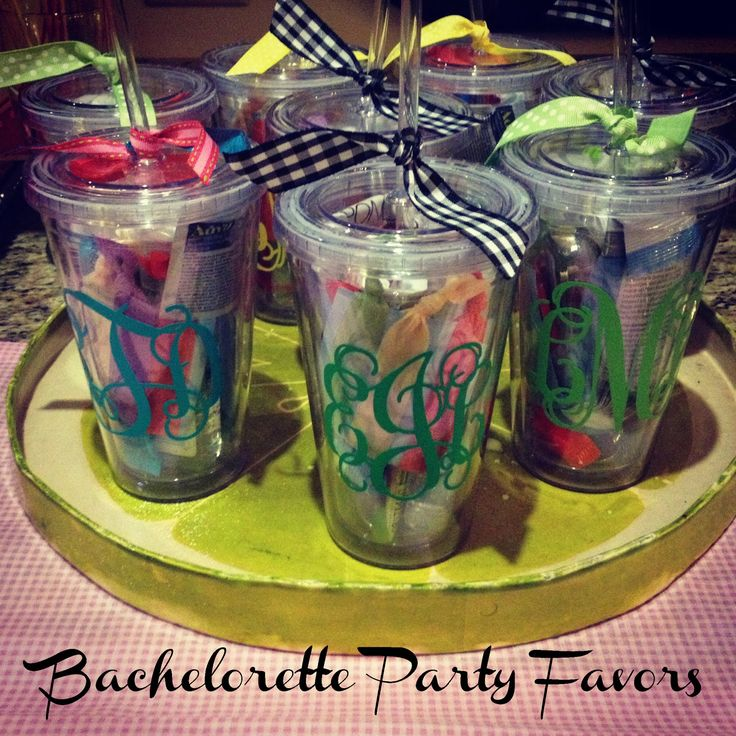 Bachelorette Party Favors/Survival Kits. This is a really cute/cheap idea. Get the cups at the Dollar Tree! ;)