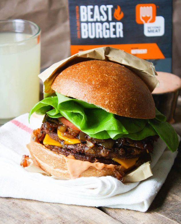 In-n-Out Copycat Recipe: Double Double NO Animal Style. Made with Beyond Meat's NEW Beast Burger, it tastes even better than the real thing! #vegan