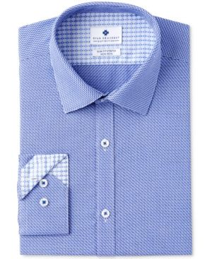 Ryan Seacrest Distinction Men's Slim-Fit Stretch Non-Iron Navy Diagonal Dobby Dress Shirt, Created for Macy's - Navy 1