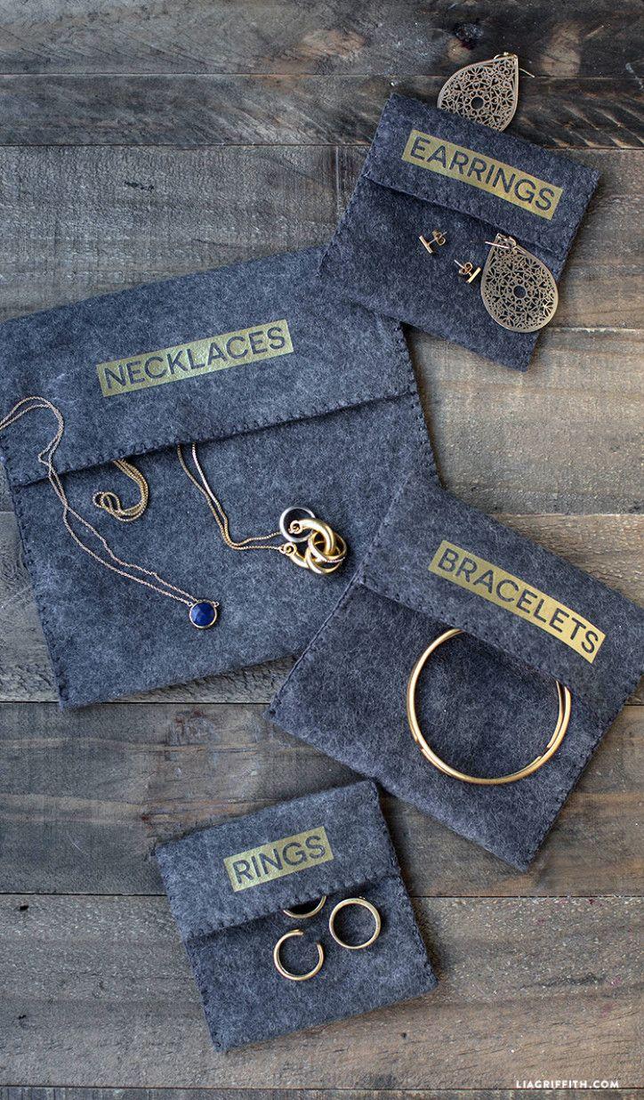 great packaging idea. jewelry, bibs, wristlets, etc. DIY Felt Pouches