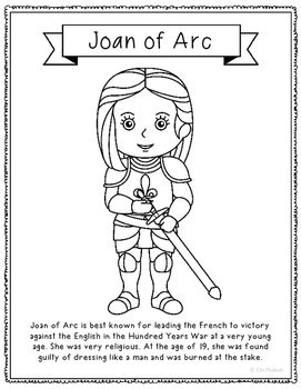 Joan of Arc Coloring Page Craft or Poster with Mini